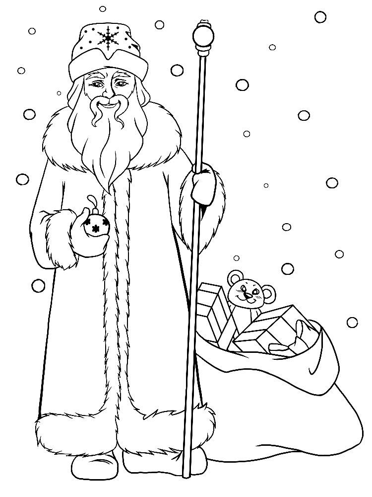 Картинки дедушка мороз раскраска