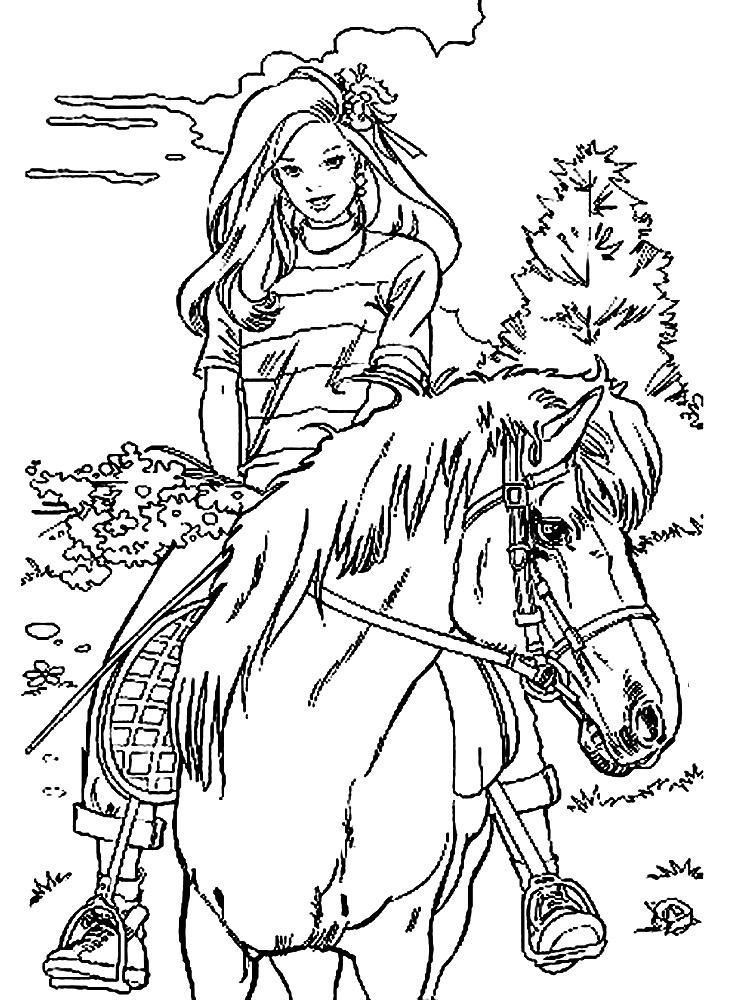Барби очень любит лошадей. Детские раскраски с Барби.