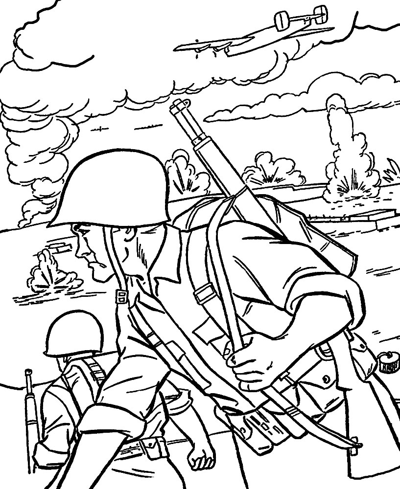 Война рисунки раскраски