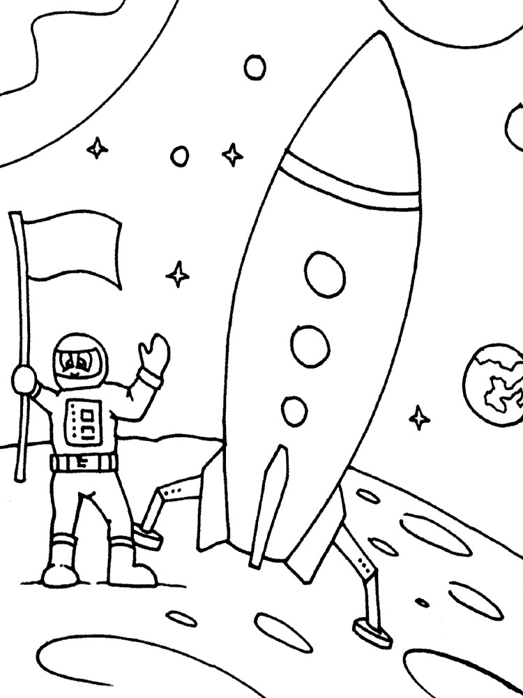 Космонавты на луне раскраски