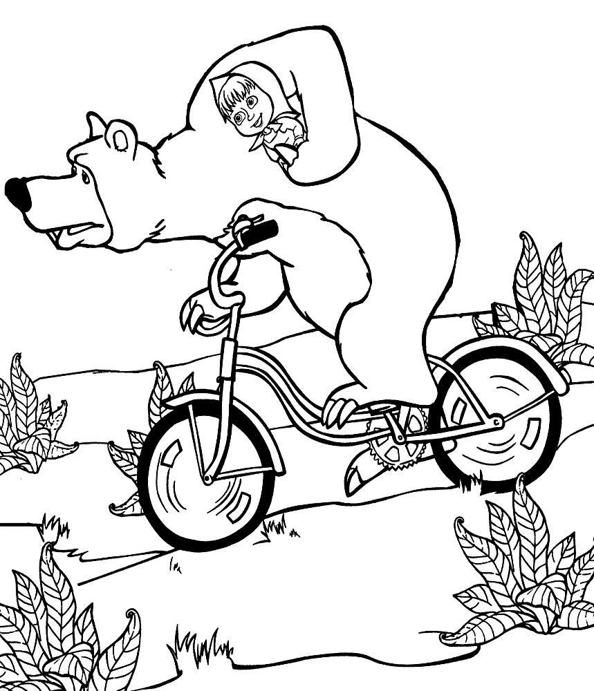 Детские черно-белые картинки и раскраски Маша и Медведь
