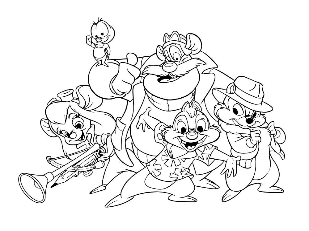 Вся команда в сборе. Детские раскраски с Чипом и Дейлом.