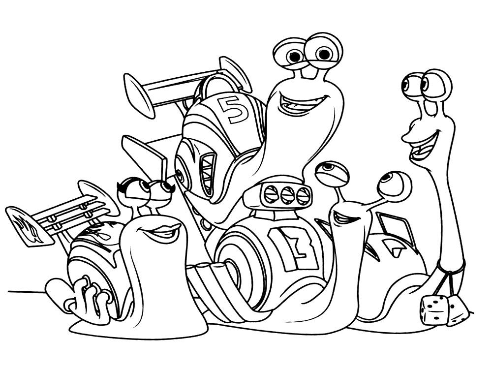 встреча друзей раскраски для детей про турбо