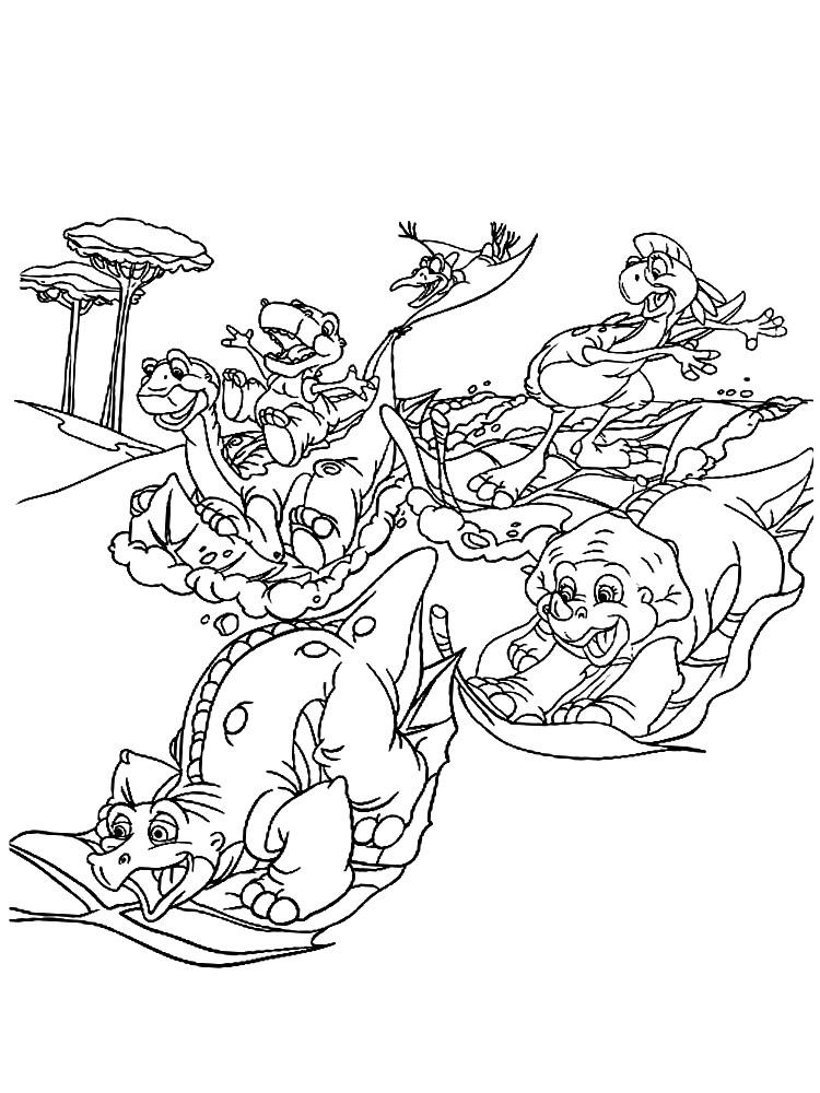 Размалевка с динозаврами из мультфильма Земля до начала времен