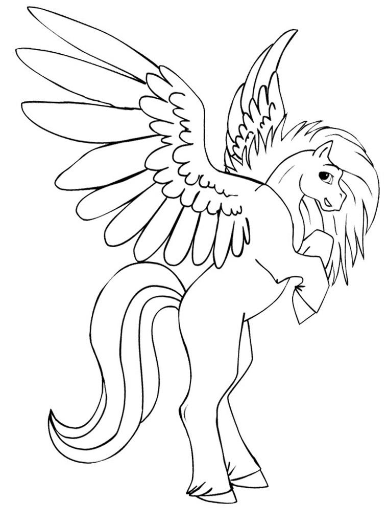 прекрасная лошадка с крыльями детские раскраски с пегасом